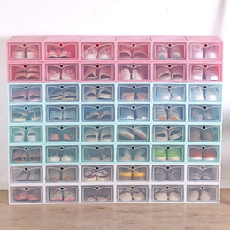 Scarpe in plastica trasparente online-4 stile del cassetto contenitore di plastica scarpa scatola di immagazzinaggio pattino trasparente artefatto vibrazione ricevono la scatola T2I5498