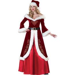 vestidos formais para palco Desconto Vestido festa de Natal Mulheres Red Stage Formal Vestidos de férias de longa V-neck
