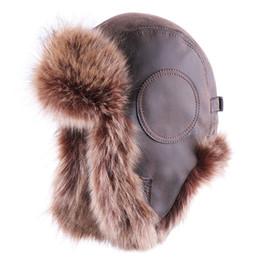 fourrure pilote homme Promotion Bomber chapeaux d'hiver en peluche Earflap russe ushanka avec des lunettes Hommes Femmes Trapper Aviator Pilot Hat Faux cuir fourrure Caps neige