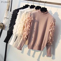 pullover koreanische pullover Rabatt Korean Frühling und Herbst Blumen Kult Ärmeln lose Pullover Rüschenkragen Strick Frauen Pullover Pullover Femme Pull Tops
