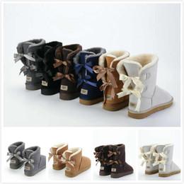 2018 marchio Classic in vera pelle bailey bow UGG scarponi da neve Wool  Women Boots Warm scarpe invernali per donna Australia snow boots 631a268ff321
