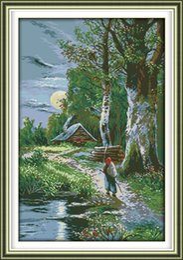 Pintura del bosque casa online-Sunset forest house moon figura decoración para el hogar pintura, bordados a mano punto de cruz bordado conjuntos contados impresión en lienzo DMC 14CT / 11CT