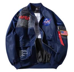2019 giacche blu bomber Bomber da uomo NASA MA-1 Flight Jacket Uomo Biker Bomber Jacket Primavera Autunno inverno Calda lettera stampata Giacca a vento Capispalla Cappotto nero blu giacche blu bomber economici