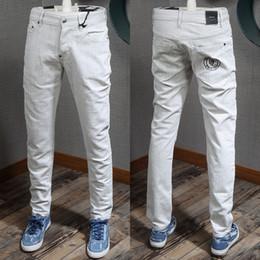 Uomo Tidy Biker Fit Grigio Jeans Fashion Design Lettere Bottoni ricamati Chiusura Pantaloni sbiaditi da cowboy Cool Guy da