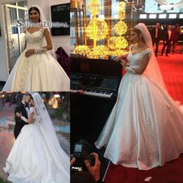 2019 perlenknopf zurück hochzeitskleid Square Neck Perlen Satin A Line Arabisch Brautkleider 2019 Elegant Sheer Long Sleeves Brautkleider Button Zurück Muslim Wedding Dress rabatt perlenknopf zurück hochzeitskleid