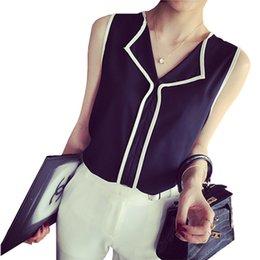 camicie di camicia nera delle donne Sconti Top estivo da donna casual bianco scollo a V senza maniche in camicetta di chiffon con scollo a V bianco casual da donna