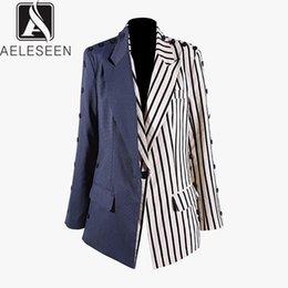Veste dames bleu marine en Ligne-AELESEEN High Street Style Vestes 2019 Automne Nouvelle Mode Européenne Bleu Marine Bleu Rayé Spliced Botton Bureau Lady Veste