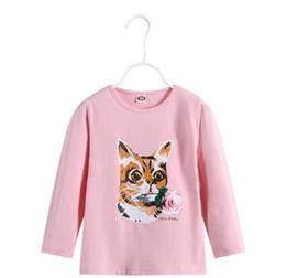 Кошки с длинным рукавом t рубашки онлайн-2019 осень зима новый стиль моды дети с длинным рукавом кошка кролик стиль животных мотивы футболки