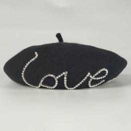Boina sombreros para mujer 100% pura lana cachemira de alta calidad circón amor boina caída del otoño de la muchacha caliente de los sombreros Accesorios de Moda envío de la gota desde fabricantes