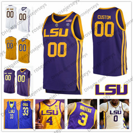 gold basketball jerseys Promo Codes - Custom LSU Tigers 2019 Retro Basketball yellow purple white gold Any Name Number #0 Naz Reid 1 Javonte Smart Simmons O'Neal Waters Jerseys