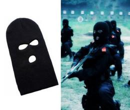 Tapas que cubren toda la cara online-Máscara 3 Agujero Cara Beanie calientes del invierno de snowboard Sombrero Caps uso de gorro pasamontañas para toda la cara cubierta enmascarados