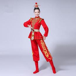 Костюм солдатских женщин онлайн-Красный китайский стиль взрослых женщин барабан одежда плюс размер 3XL 4XL Пекинская опера производительность одежда древний женский костюм солдата
