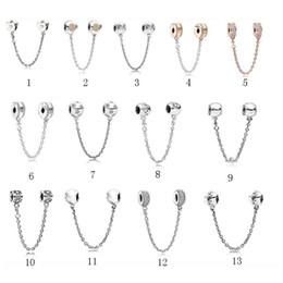 Chiusure per gioielli online-Nuova misura Pandora bracciale in argento 925 perline braccialetto fai da te collana di fissaggio di sicurezza amore perline bracciali per le donne collana di gioielli all'ingrosso