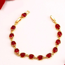 gold blood Coupons - (353B) ( 18 cm + 3 cm ) Blood-Red Water Stone Bracelet For Women Original Designs Fashion Jewelry 24k Pure Gold Plated