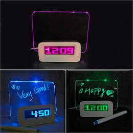 Timer led on-line-Placa de mensagem fluorescente Relógio Alarme Temperatura Calendário Temporizador Hub USB Luz verde LED Digital Desktop Director Tabela Relógios