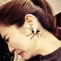 brincos de animais para homens Desconto Personalidade Jóias Black Spider Punk Brincos para As Mulheres Homens Brincos Halloween 3D Animal Stud Brincos Presente