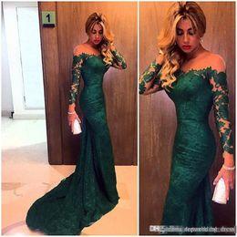 dc70f6f01f09 Emerald Jewel Mermaid Lace Abiti da sera Custom Made manica lunga Donna Off  spalla Prom Gown Abiti convenzionali per le donne grasse a prezzi  accessibili ...