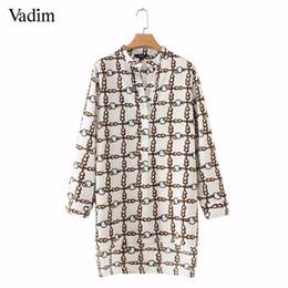Vadim mujer elegante cadena de impresión larga blusa manga larga lateral dividida camisas irregulares damas streetwear tops sueltos blusas LA323 desde fabricantes