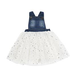 2019 tanga de ganga Shining Star Criança Tulle Vestido Suspender bebê Denim Patchwork vestido do verão comprimento do joelho belos vestidos para meninas 19051302 desconto tanga de ganga