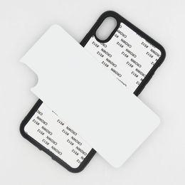 étui en aluminium pour téléphone iphone Promotion Blanc 2D Sublimation TPU + PC caoutchouc housse de téléphone pour iPhone 6 6S 7 8 8 plus X x x x x x max avec inserts en aluminium