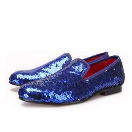 Mocassini fatti a mano da uomo perline blu Mocassini fatti a mano da uomo da cerimonia e da ballo per uomo da grandi perline blu fornitori