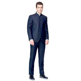 Голубой мандарин онлайн-Navy Blue Groomsmen Stand Mandarin Collar Lapel Men Suit 2Pieces(Jacket+Pants+Tie) Groom Tuxedo Wedding Best Man Bridegroom