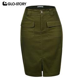 5b89a5ebe2 GLO-STORY 2018 Fashion Summer Women Denim Pencil Split Skirt High Waist  Sexy Work Wear Ladies Skirts WQZ-1803 Q190424