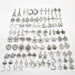 Haarnadel ohrringe online-Tibetische Großhandels100pcs silberne Halskette Anhänger DIY Armband Ohrringe Hairpin Schmuck Zubehör Metall-Handy-Dekoration Anhänger