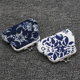 sacchetto di immagazzinaggio del earbud all'ingrosso Sconti Nuovo 1 Pc mini raccoglitore della signora retro annata blu bianco porcellana design piccolo raccoglitore della borsa della moneta donne Hasp borsa borsa borsa frizione Ragazze