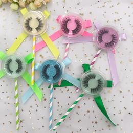 Caixas de transporte coloridas on-line-3D Faux Mink Pestana Com Colorido Lollipop Caixa Aceitar Personalizado Natural 3D Faux Mink Cílios Frete Grátis
