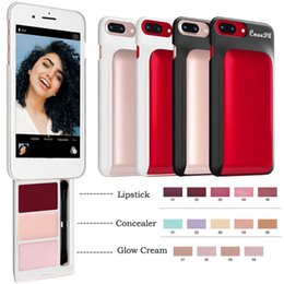 2019 concealer lippenstift CmaaDu Telefon Fall versteckt zurück kosmetische Lippenstift Concealer Glow Creme Concealer Foundation Creme-Palette für Iphone 6 6s 7 8 rabatt concealer lippenstift