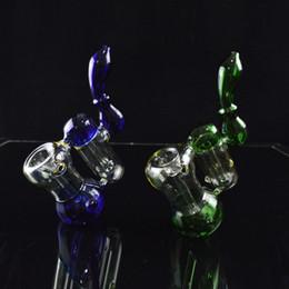 Borbulhador de câmara on-line-Tubulações de água colorida Bubbler Dab Rigs Dois Câmara 8 polegadas alto Downstem Levante Bongs Oil Rigs portátil de vidro Caliane