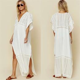 Argentina Europea y americana malla de algodón bordado V-cuello flojo atractivo de la playa falda larga blusa de fiesta protector solar bikini Suministro