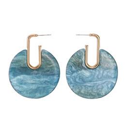 Blaue kreisentwürfe online-2018 neue Mode hoop Schnalle Kreis Acryl blaue Textur Ohrringe für Frauen Design geometrische Schmuck Creolen 1 Paar