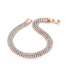 2019 diamante cristalino americano Joyas explosivas Moda europea y americana. 3 filas llenas de brazaletes de cristal plateado con diamantes de circonitas Diamond Ladies.