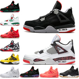 best website c2cac b3bb1 Nike Air Jordan Retro 2019 gezüchtet 4 4s Männer Basketball-Schuhe Pale  Citron NRG Schwarz Weiß Singles Tag Tattoo Raptors Pure Money Trainer Sport  Sneakers ...