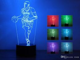 Argentina Ambiente mesa LED 3D Noche de aire ligero de baloncesto lámpara de noche del bebé de 7 colores de la lámpara del niño del muchacho del cumpleaños amigo Deporte regalo del partido Decoración del hogar Suministro