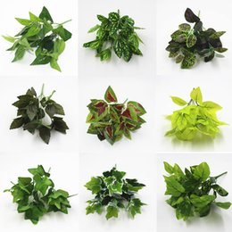 indoor plants decoration Promo Codes - Artificial Green Plants Indoor Outdoor Fake Plastic Leaf Foliage Bush Home Office Garden Flower Party Decoration