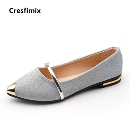 Cresfimix donne sexy party night club scarpe basse donna casual argento  dorato appartamenti signora carino estate cuoio scivolare su scarpe ddbb2b3fdb0