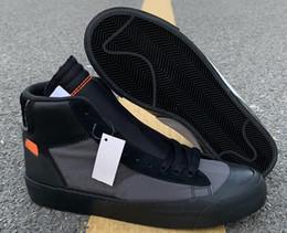 Горячие Продажи Мода Blazer Studio Mid Grim Reaper Пользовательские Мужские Кроссовки Новое Сотрудничество Черный Конус Черный Белый Дизайнер Обуви Поставляются С Коробкой от