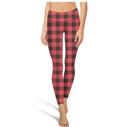 Schwarze rote strumpfhose leggings online-Red Plaid High Waist Yoga Pants Damen Gym Yoga Pants Atmungsaktive Designer-Strumpfhose Coole Leggings Schwarz