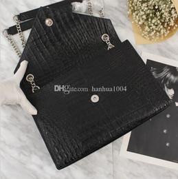 bolsos de cuero negro marcas de renombre Rebajas 2018 marca de alta calidad de cuero genuino de las mujeres bolso de la manera de grano de cocodrilo bolso negro CHAIN STRAP bandolera
