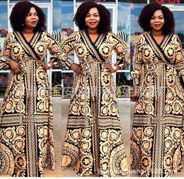 abiti americani cinesi Sconti abiti africani per le donne vestiti africani vestito stampa sciolto a maniche lunghe Dashiki signore abbigliamento ankara plus size abiti
