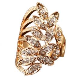croix d'or antiques Promotion Vintage Big Ring Antique Couleur Or Croix Feuilles Cristal Anneaux Pour Les Femmes Bijoux Turcs De Mode Strass Anneaux