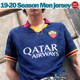 El shaarawy trikot online-2020 Roma dritte tiefblaue Fußballjerseys 19/20 # 16 DE ROSSI Roma Männer Fußball-Hemd Customized # 9 # 92 DZEKO EL Shaarawy Fußball-Uniform