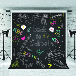 Adereços de tiro on-line-Sonhar 5x7ft de volta à escola pano de fundo dos desenhos animados padrão de fotografia blackboard para crianças escola tema atirar estúdio prop 1.5x2.2 m