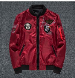 double sided wear jacket Promo Codes - Mens Designer Jacket Luxury Eagle Embroidery Badge Flight Jacket ASSTSERIES MILITARE Clothes Double Side Wearing Us Size S-6XL for Wholesale