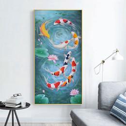 Pittura a olio di pesce koi online-Dipinti ad olio cinesi di arti di pesce Koi per la pittura HD decorativa per hotel pittura koi pesce arte pittura su tela No Frame 007