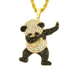 2019 дизайн исходных подвесок Золотой цвет горный хрусталь роскошные хип-хоп танцы смешные животных Панда кулон обледенел рок хип-хоп ожерелья для мужские ювелирные изделия подарки