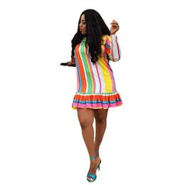 Vestido largo de rayas verticales online-Rainbow Rayas Verticales Vestido Suelto Moda Mujeres O Cuello Camiseta de Manga Larga Vestido Casual Ruffles Club Party Mini Vestidos NZK-1621